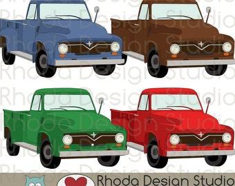 Vintage Pickup Truck Digital Clip Art Retro