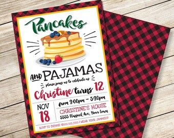 Pancake & Pajamas Invitation - Pancake Party, Lumberjack, Breakfast with Santa, Self-Editing   DIY Editable Text INSTANT DOWNLOAD Printable