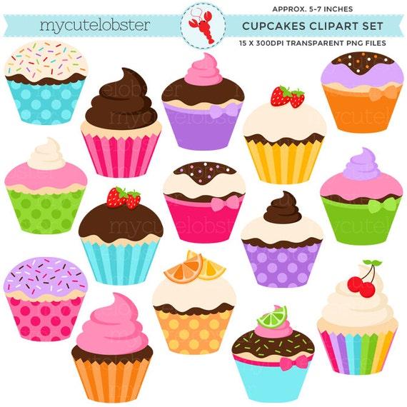 Cupcakes Clipart Set clip art set of assorted cupcakes