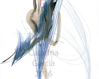 Original Ballet Dance Drawing – Watercolor, Pencil and Ink on Paper
