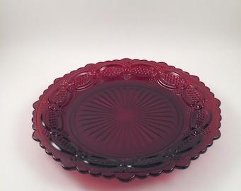 Vintage Avon Ruby Red Cape Cod design...Spirit of 1876...1970's...Wheaton glass company...pressed glass..salad plate