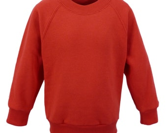 Bright Red Sweatshirt, cotton/polyester, raglan sleeves, soft brushed inside for warmth and comfort.   Made in England.  6 childs sizes. W10