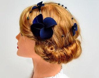 Navy blue fascinator Classy headband Halloween headband Elegant hair piece Bridesmaid hair Wedding hair accessories Fascinator headband