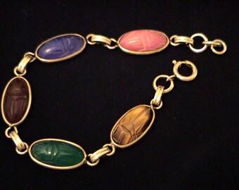 Vintage VAN DELL Elongated Scarab Gemstone 12K GF Bracelet