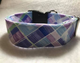 Purple Blues Buckle Dog Collar