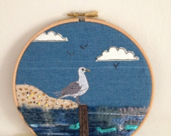 Seagull hooped textile art, wall hanging