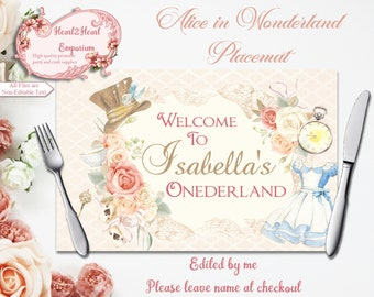 Alice in Wonderland Placemat, Table Mat, Alice in Wonderland Table Placemats, Alice Party Decorations, Printable Table Setting, Onederland