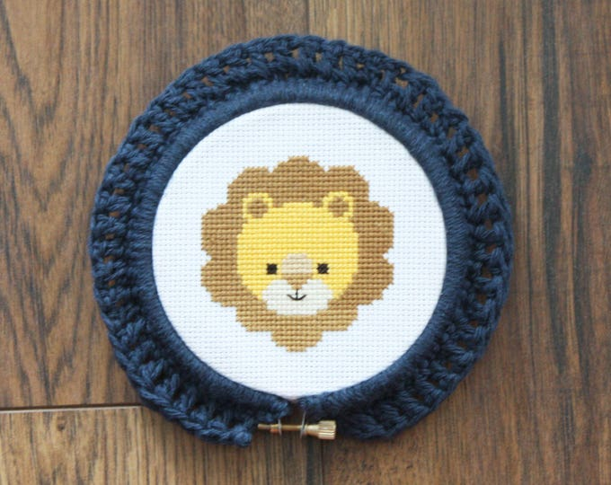 Handmade Crochet Embroidery Hoop Frame Indigo Small - home decor, picture frame, framing, cute, baby gift, kid, decoration, little, blue