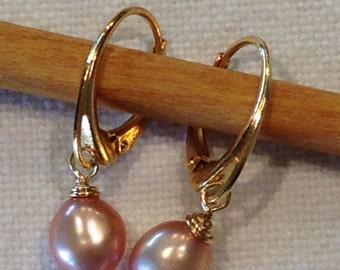 Sale Gold Lever Back Pearl Earrings Irresistible OOAK