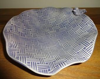 Pottery Handmade Stoneware Dish, Ceramic Dish, Trinket Dish, Lace Dish
