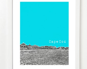 Cape Cod Skyline Poster- The Cape - Cape Cod City Art Print - Cape Cod Massachusetts