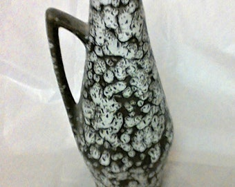Vintage West German Black and White Art Deco Vase With Handle