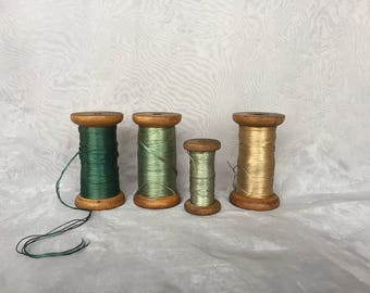 Antique Silk Thread Spools - Vintage Wooden Spools - Vintage Thread Spools - Vintage Industrial Decor - Craft Room Decor Green Country Decor