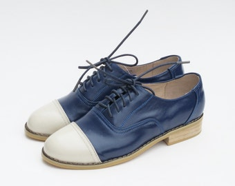 Leather Handmade Milky Blue Oxfords Brogue Vintage-inspired Wedding Gifts Shoes