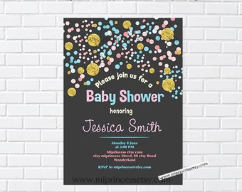 baby sprinkle party, baby shower, confetti baby shower, girl baby sprinkle, girl baby shower, baby girl shower, confetti baby,  card 1023