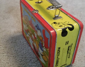 Vintage Walt Disney Mickey Mouse, Donald Duck, Goofy and Ducklings Lunch Box 1954 Adco Co.