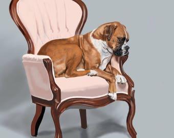 Fine Art Print - Boxer Sitting Pretty