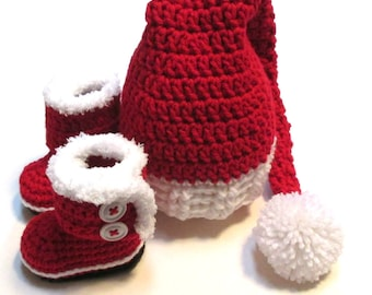 Deluxe Santa hat and Santa boots.  Crochet Christmas hat and booties set for infant and baby.  Made to order Christmas hat set.