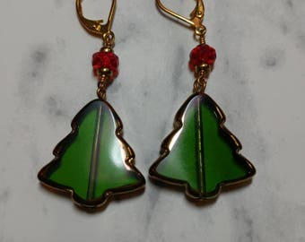 Festive Glass Christmas Tree Earrings (Leverback)