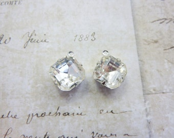 Vintage Rhinestone Drop 10mm Square Octagon Glass Rhinestone in Silver Prong Setting (2) Lots of Sparkle