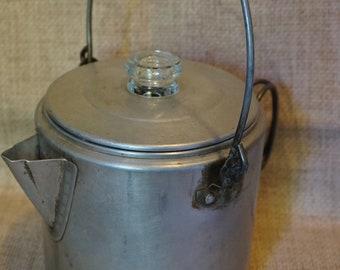Vintage Camping Coffee Pot  Vintage Aluminum Camping Coffee Maker  Kitschy Coffee Pot  8-10 Cup Coffee Pot
