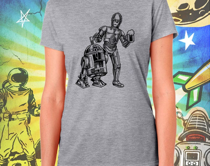 Star Wars / R2D2 and C3PO BW / Women's Gray Performance T-Shirt