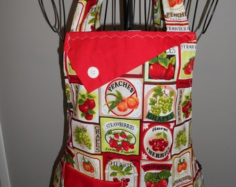 Cherries, Peaches and Apples - Women's Apron - Ruffle - Pocket - Fruit