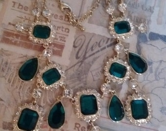 Green and White Rhinestone Necklace- SALE