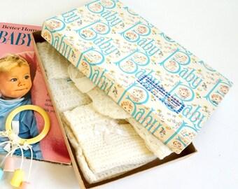Vintage 1960s Gift Box / Baby Clothing Retail Box / Retro Kitsch Pastel Pink Blue Baby Shower New Baby Gift Nursery Decor Set Prop