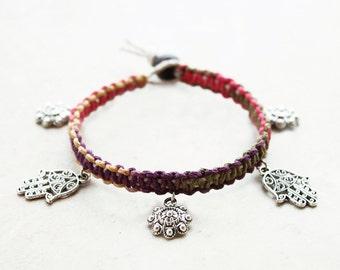 Hand of Fatima Hemp Bracelet - Hemp Jewelry