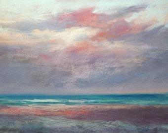 Large Beach Sunset Seascape Florida ART Original Pastel Painting 18x24
