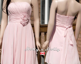 Short blush pink bridesmaid dress, blush pink short dress