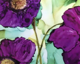 Alcohol Ink Note Card Print. Blank Note Card. Original Art Print. Floral Note Card. Stationery. Framable Card. All Occasion Greeting Card
