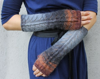 Fingerless Gloves Gray Dark Gray Brown Arm Warmers Wrist Warmers Gray Grey