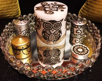 Owl Henna Candle Set