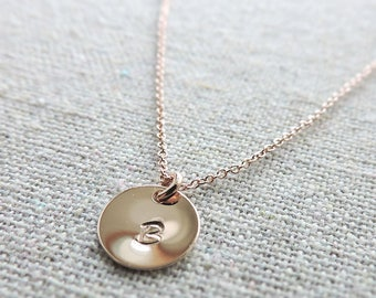 Monogram Rose Gold Necklace Hand Stamped Initial Letter Customized Bridal Jewelry Wedding Necklace Personalized Bridesmaids Gifts