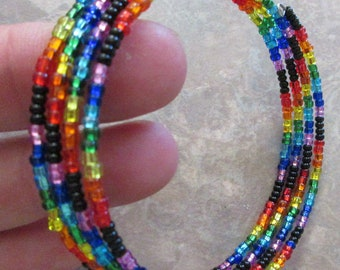 Rainbow Glass Bead Memory Wire Bracelet Pride