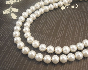 Two Strand, Classic Style 8mm White Glass Pearl Necklace with Gold Plated Flower Clasp