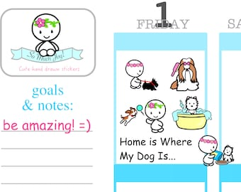 U038-Uteki Dog Lover Sticker Sheet//Erin Condren, Happy Planner and All Other Planners, Scrapbooking, Crafts