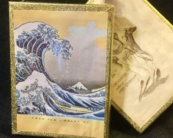 Antioch Bookplates 2Pc Vintage 100 Hokusai Great Wave Sealed Box and Cervantes Quote from Don Quixote Opened box Bibliophile Japanese Art