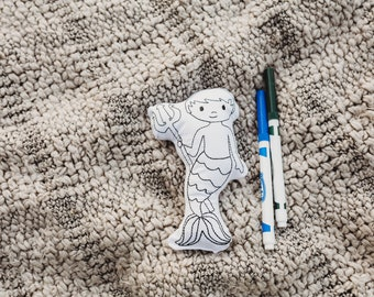 Merboy Coloring Activitiy-Color Your Own Doll-Mermaid Birthday Party Gift-Rainy Day Activities-Quite Toys-Gifts for Kids-Party Favors