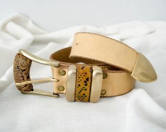 vintage leather belt / tan belt / Leatherock / small