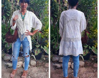 Sheer Light weight Jacket/Boho Long Jacket/Bohemian Lace Jacket/Embroidered long coat/Summer light jacket/Festival jacket/3 colors,