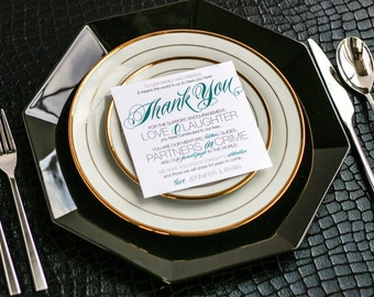 """Reception Thank You Card, Wedding Square Table Sign, Script Teal and Navy - """"Sweeping Script"""" Reception Thank You Sign 5.25x5.25 - DEPOSIT"""