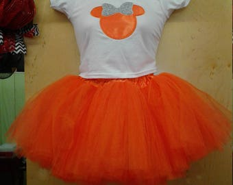 Minnie Mouse Tea Length Tutu Skirt Outfit, Birthday Outfit