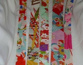 Assorted Antique / Vintage Japanese Kimono Fabric 100g - long strip01