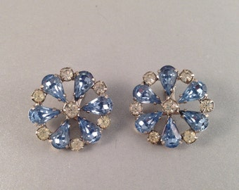 Blue and Clear Rhinestone Silver Clip on Earrings by B. David, Faceted and Pronged Rhinestones, 1 Inch Round Previously 28 Dollars ON SALE