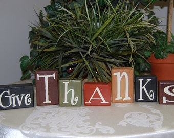 Wood Give Thanks blocks