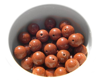 10 10mm Goldstone Beads
