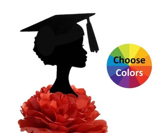 DIY Centerpiece Pick Graduation Girl Afro American 2018 Party Supply Table Decoration Silhouette 9 Inch Tall Choose From 20 Colors